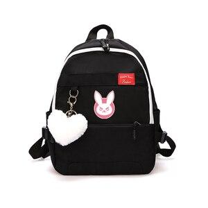 Image 3 - Game OW DVA Harajuku Nylon Backpack Female Travel Backpacks Stylish School Student Bag Pack Teenager Laptop Shoulder Travel Bags
