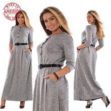 5XL 6XL Robe 2019 Autumn Winter Dress Big Size Elegant Long Sleeve Maxi Women Office Work Dresses Plus Clothing