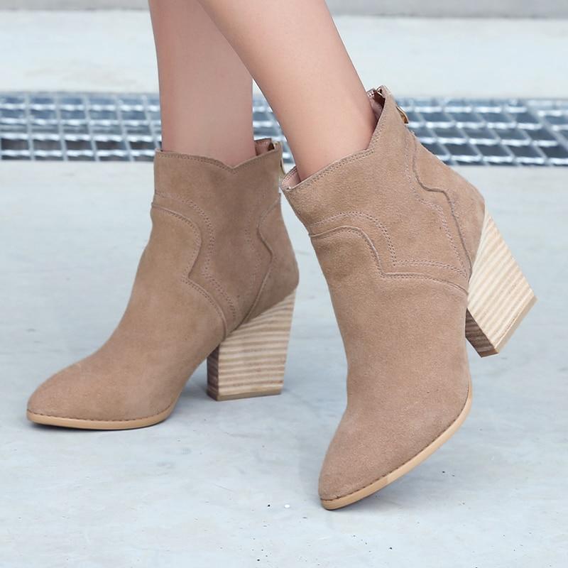 ФОТО Women's Autumn Thick High Heel Ankle Boots Genuine Leather Brand Designer Female Footwear Elegant Ladies Shoes Short Booties Hot