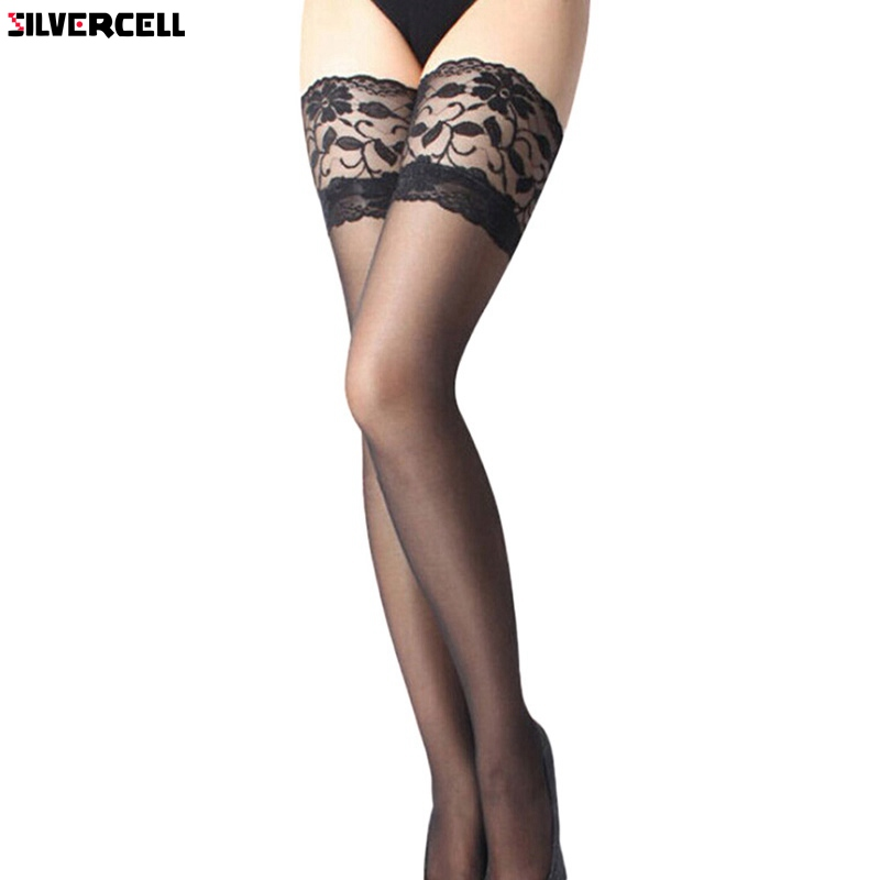 Sexy Women Ladies Lace Top Silicone Band Stay Up Thigh High Stockings Pantyhose