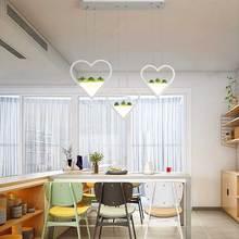 цена на Modern Led chandelier wrought iron + acrylic hanging light simulation plant for restaurant study bar counter chandelier