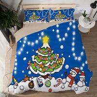 New Merry Christmas Bedding Set 3D Pattern Santa Claus David Deer Duvet Cover Set Flat Bed Sheet Kids Children tree bedclothes