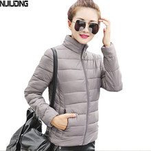 NIJIUDING invierno ultra ligera de Algodón chaqueta de las mujeres de Corea Delgado chaqueta acolchada Parka Femenina Sólido y Chaquetas