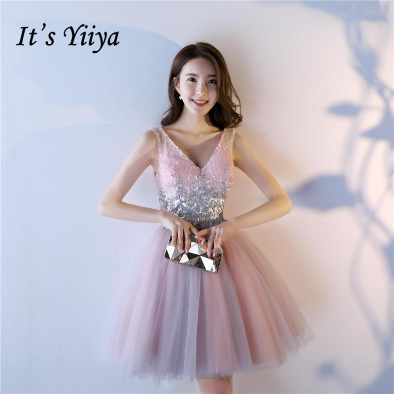 It's YiiYa   Cocktail     Dress   Elegant V-neck Sleeveless Shiny Sequined Pink Mini Party Gown Lace Up Frocks SB002