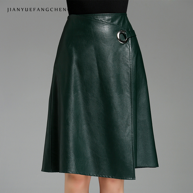 489c04c4204 2018 PU Leather Skirts Women Plus Size Knee Length A Line Midi Skirt High  Waist Cheap Sexy Asymmetrical Solid Clor Skirt Jupe