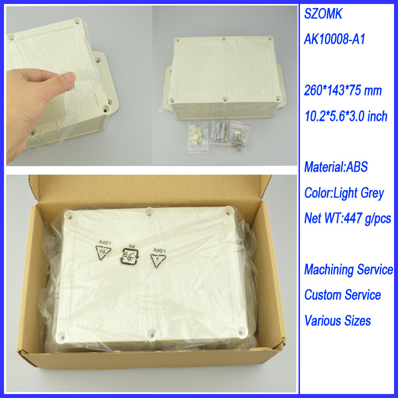1 piece waterproof junction box abs electronics enclosures for electronics cable ip 65 260*143*75MM plastic enclosure waterproof цена