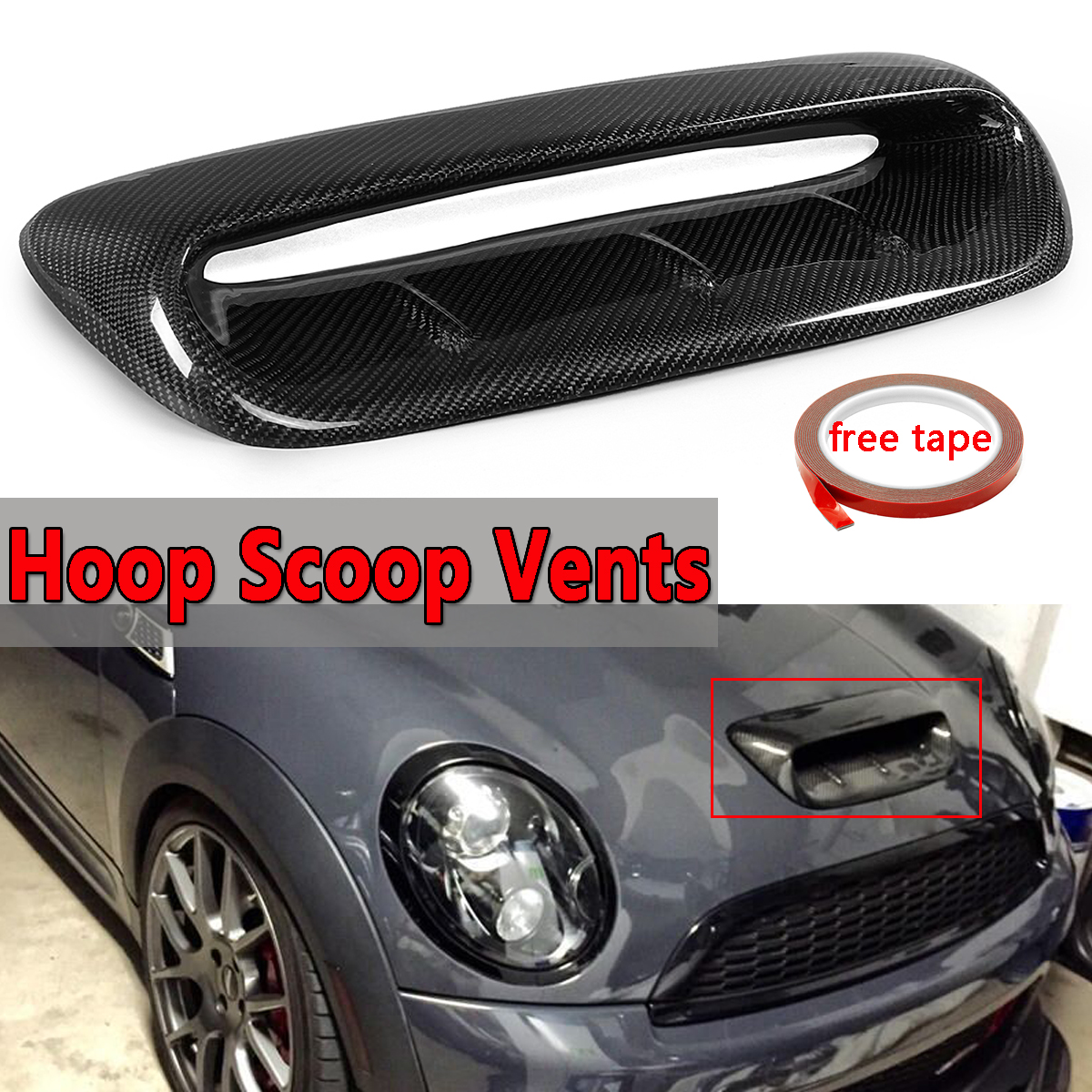 Front Hood Scoop Vent For Mini Cooper S R56 2007-2014 VTX Style Real Carbon Fiber Bonnet Air Flow Intake Scoop Decorative Covers ob 515 universal air flow vent hood covers for car silver pair