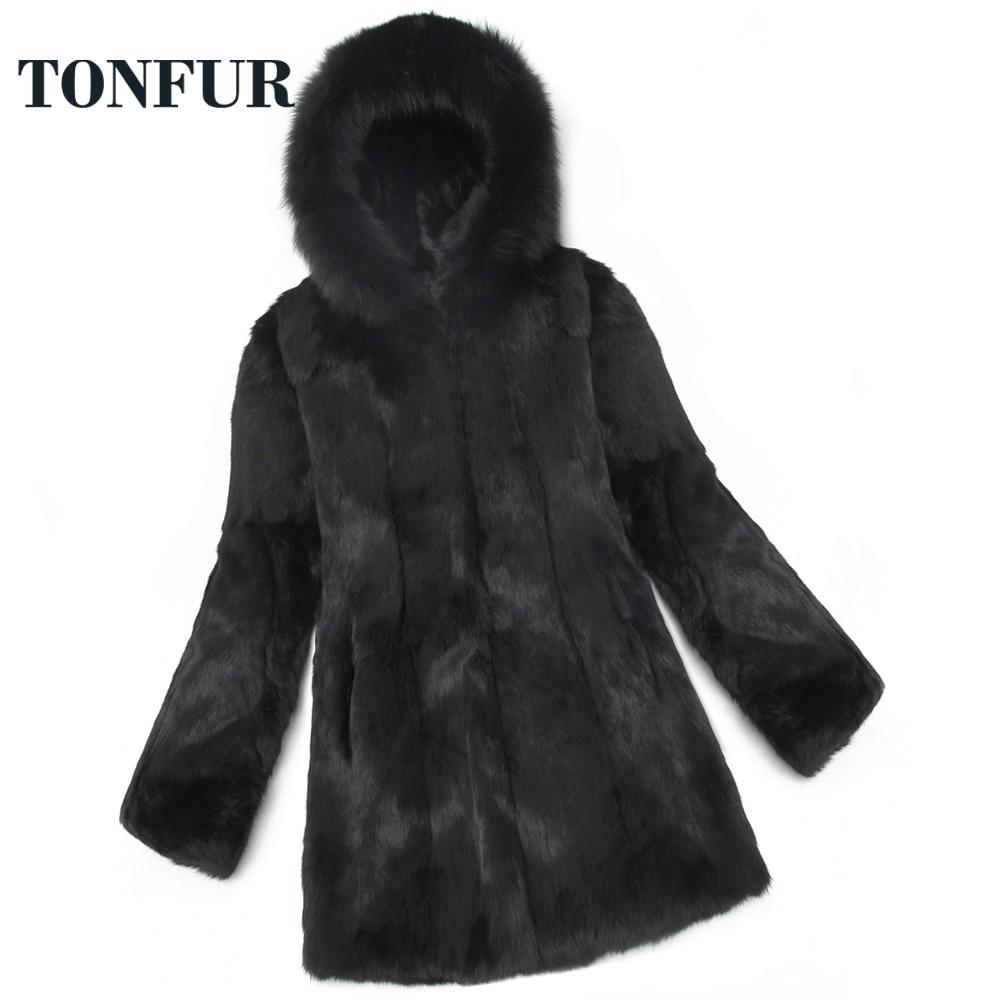 Winter Coat Women Real Fur Fox Fur Coat Natural Rabbit Fur Jacket Long Plus Size Hooded Fur Overcoat Wholesale Price sr652