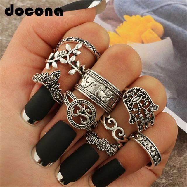 docona Boho Elephant Flower Midi Finger Rings Set for Women Punk Hollow Out Sliv