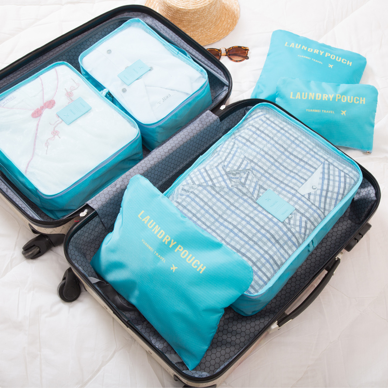 2018 6pcs/set Men and Women Luggage Travel Bags Packing Cubes Organizer Fashion Double Zipper Waterproof Polyester Bag Wholesale 3
