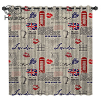COCOHouse London Newspaper Window Curtains Dark Bedroom Print Curtain Panels With Grommets Outdoor Curtains Party Decoration
