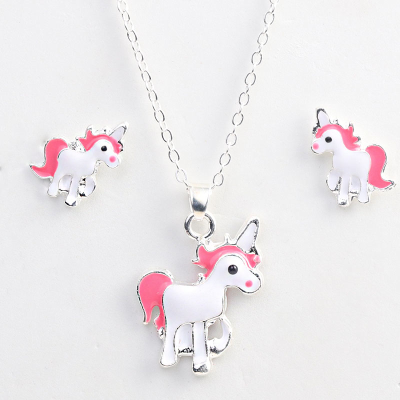 New Arrival Hot Sale Unicorn Necklace Earring Animal Jewelry Sets Cartoon Horse Jewellery Set For Girls