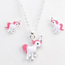 New Arrival Hot Sale Unicorn Necklace Earring Animal Jewelry Sets Cartoon Horse Jewellery