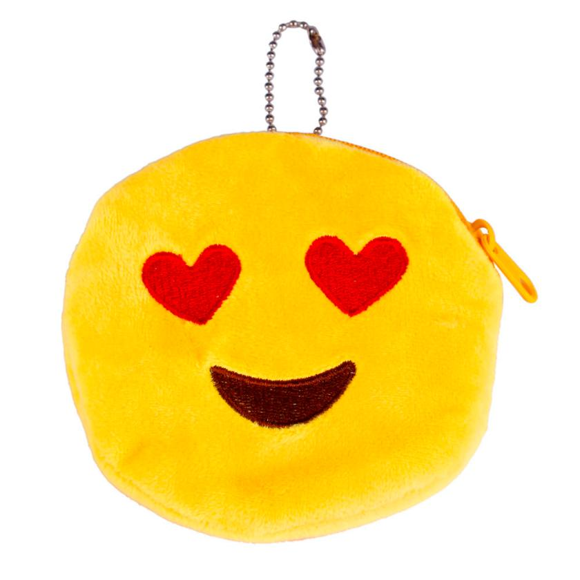 New Style Women Girl Plush Soft Emoticon Round Coin Purse High Quality Emoji Chain Wallet Gift mini wallet monederos infantileS