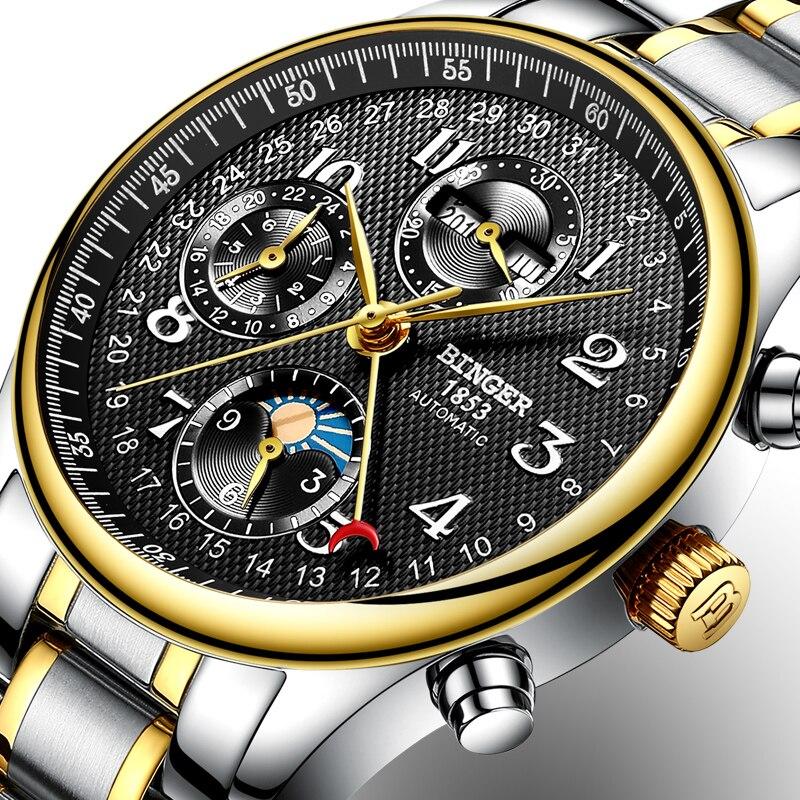 Suisse BINGER montres hommes marque de luxe fonctions multiples Phase de lune saphir calendrier mécanique montres-bracelet B-603-84