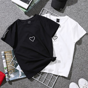FJUN NEW Summer Couples Lovers T-Shirt Women TOMATO Embroidery Love Heart Print TShirt Casual Kawaii Black White Tops Tee Shirt