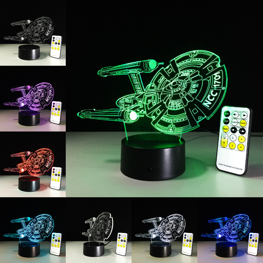 Star Wars Lamp Star Trek NCC 1701 Ship Boat 3D Lamp LED Novelty Night Light USB Light Glowing Children Gift with Remote Control star wars death star 3d color changing led wall lamp night light creative novelty toy rgb colorfull action figure