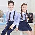 2016 autumn baby girls boys formal full sleeve school uniform for children 4 pcs blue big kids students clothing suit FH200
