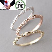 OMHXZJ Wholesale European Fashion Woman Girl Party Wedding Gift AAA Zircon 925 Sterling Silver 18KT Rose Yellow Gold Ring RR384 цена и фото