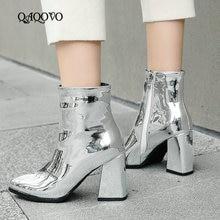 dbab153a6 معان براءات الاختراع والجلود حذاء من الجلد النساء مربع عالية الكعب الجوارب  الأزياء وأشار اصبع القدم