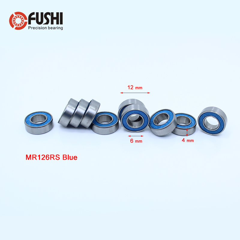 MR126RS Bearing ABEC-3 (10PCS) 6x12x4 mm Miniature MR126 - 2RS RU Ball Bearings Blue Sealed For Axial SCX10 II