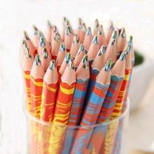 4pcs/lot Wooden Colors Pencil Set Cute 4 In 1 Rainbow Pencils Crayons for Kids DIY Drawing Graffiti Pen Tool Art School Supplies
