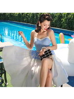 Le Palais Vintage 2019 50s Vintage Sweet Girl Blue Plaid White High Waist Swing Party Dress A Line Patchwork Sleeveless