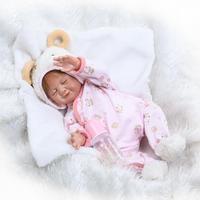 Lovely 50cm Full Vinyl Body Bathed Reborn Baby Doll Lifelike Bebe Newborn Doll in Sheep Clothes Brinquedos XMAS Birthday Gifts