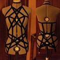 2017 new pastel goth elastic garterbelt gothic bust bondage bra Rave wear Binding women top suit cage bra lingerie black retail