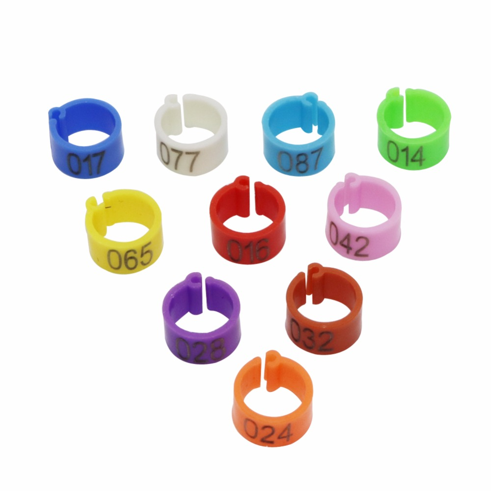 1000 Pcs 8mm Digital Markup Bird Clip Ring Bird Identification Tool 10 Color No.1-100 Pigeon Foot Rings Pet Supplies Easy To Use
