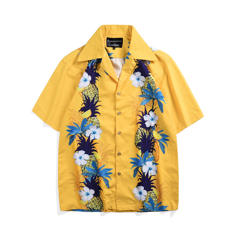 Mens Hawaiian Shirt Male Casual Printed Beach Shirts Short Sleeve Clothing,Picture Color3,4XL