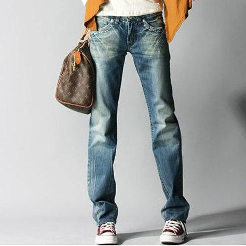 5ff0ac85f37 Europa BF estilo Casual mujeres pantalones vaqueros rectos Mujer Pantalones  Harem sueltos mujeres Jean Pantalones
