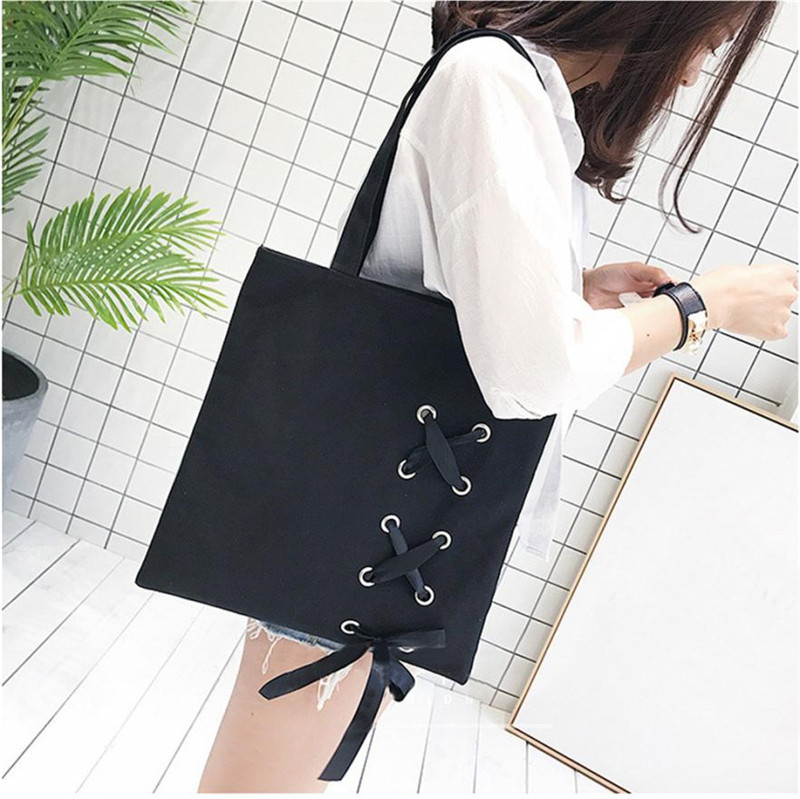 Xiniu Women's Casual Lace-up Canvas Tote Female Single Shoulder Bags Backpacks Womens Bags For Women 2018