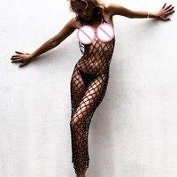 Women Sexy Crochet Beach Cover Up Fishnet Sarong Wrap Bikini Handmade Smock Long Dress Elegant Beach Bathing Suit tunic