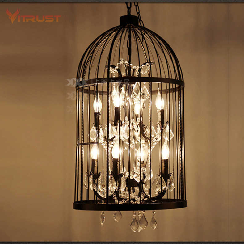 Retro industrial iron cage chandelier lamp Crystal Pendant Lamp Romantic Cafe Light Bar American Industrial Vintage Luminaire