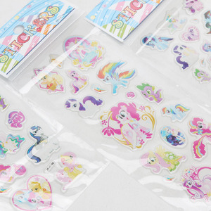 Image 5 - 6 יח\סט PVC פוני מדבקות הפוני הקטן שלי צעצועי חבילת ילדי ילדה נייל מדבקות 3D קשת דאש דמדומים Sparkle אדמונית עוגה