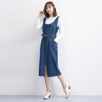 2017 Newest Spring Summer Autumn Women High Waist Sleeveless Office Denim Dresses Casual Split Jeans Midi