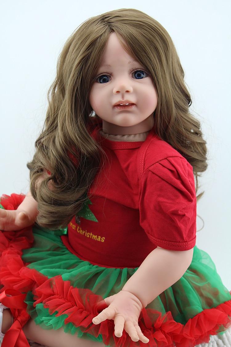 NPK real girl doll reborn 24 60CM silicone baby reborn bonecas lifelike long hair red dress