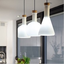 White Glass Pendant Light 3 Heads Creative Home Lighting Fixture Experimental Bottle Hanging Lamp E27 110