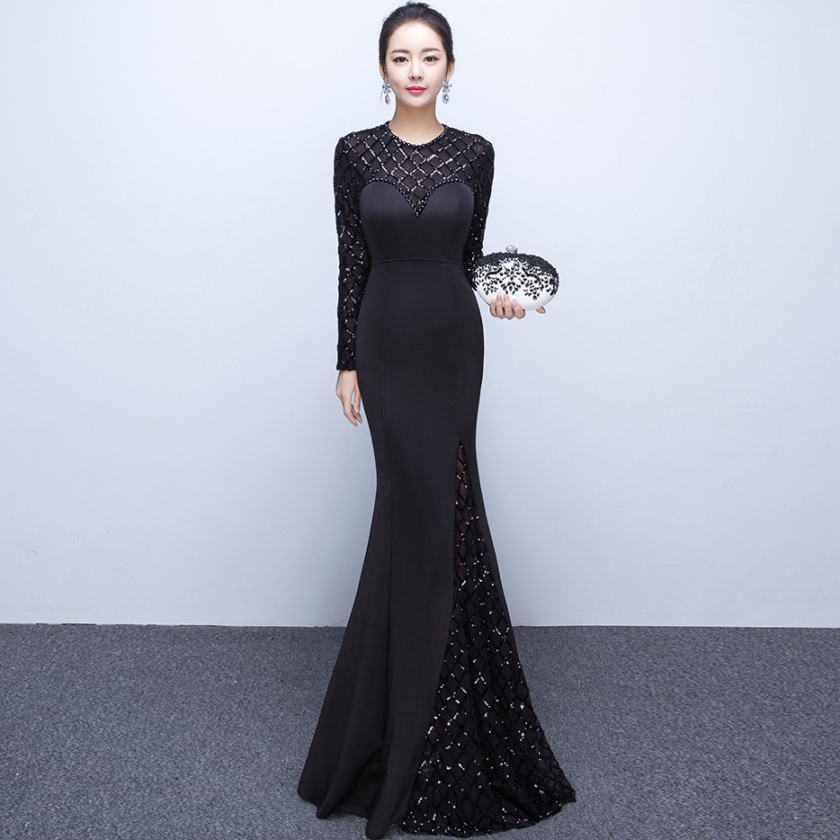 Classic Women Dress Traditional Chinese Long Sleeve Evening Gown ...