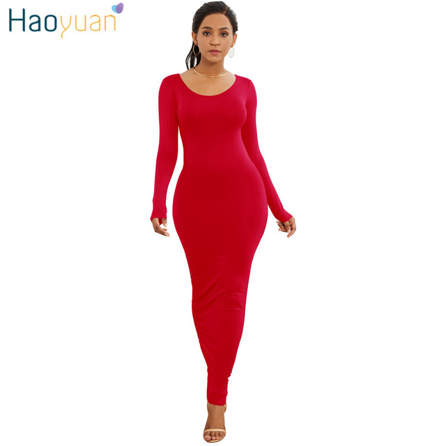HAOYUAN Long Sleeve Maxi Dress Elastic Women Sexy Dresses 2019 New Spring Summer Vestido Elegant Casual Boho Beach Bodycon Dress