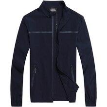 2017 8XL 7XL 6XL New Men's Jacket Spring Business Casual Mandarin Collar Zipper Solid Color Thin Coats And Jackets Men Clothing