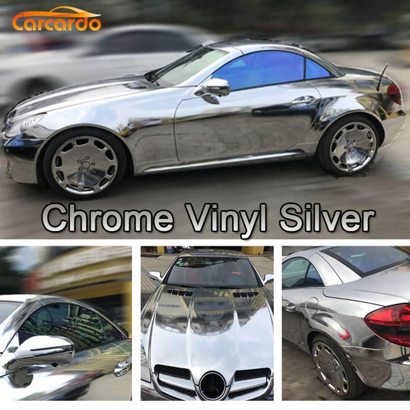 Carcardo Chrome Vinyl Film Chrome Car Wrap Chrome Auto Vinyl Auto Sticker Met Bubble Gratis