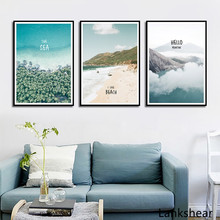 Blue Sea And Mountain Canvas Painting Seascape Beach Wall Art Posters and Prints Nordic Decoration Pictures For Living Room