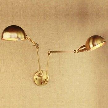 Projekt Luksus W Stylu Vintage Mosiądzu Złota Podwójne Głowy Huśtawka Ramię Edison Kinkiet E27 Led Regulowany Metal światło ścienne Oprawy Oświetleniowe Dla Sypialnia