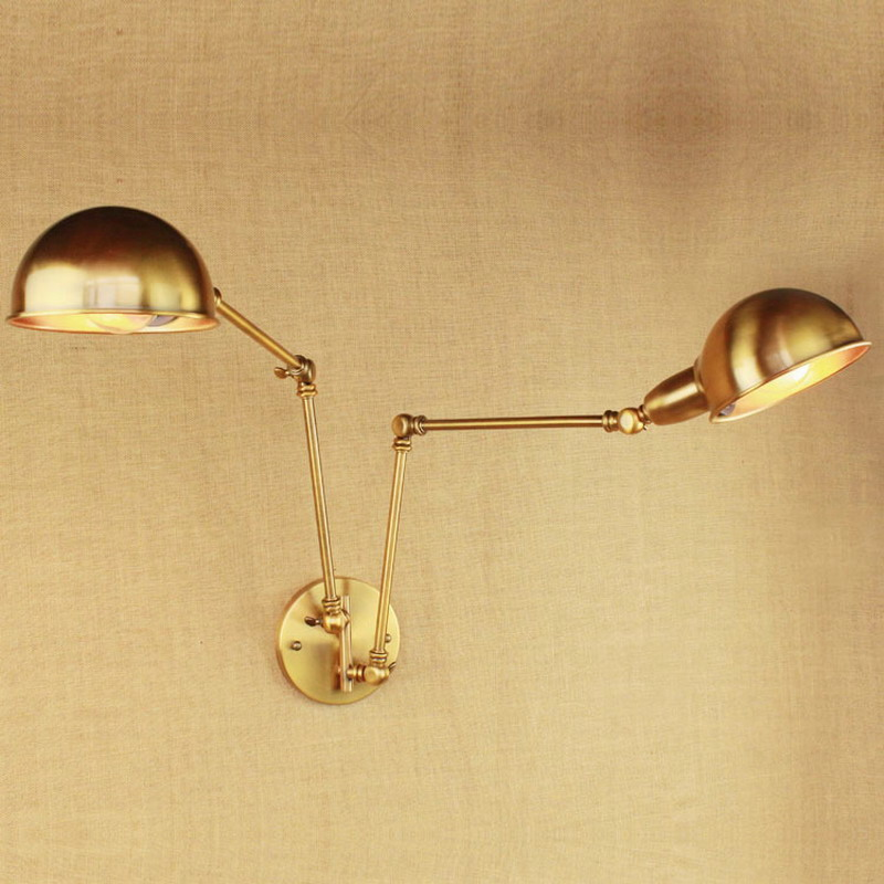 design luxury vintage brass gold double head swing arm Edison Wall lamp E27 led Adjustable Metal Wall Light Fixtures For bedroom leshp adjustable double arm 27 inch monitor holder double arm tablet pc stands 360 degree rotatable computer desk free shipping