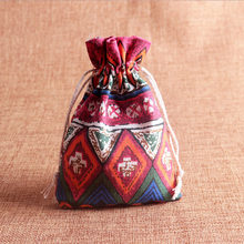 10x14cm Ethnic Linen Cotton Jewelry Pouch Gift Necklace Earrings Bracelet Packaging Bag Tribal Jute Wedding Party Favor
