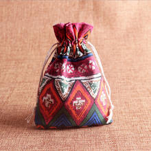 10x14cm Ethnic Linen Cotton Jewelry Pouch Gift Necklace Earrings Bracelet Packaging Bag Tribal Jute Gift Wedding Party Favor Bag(China)