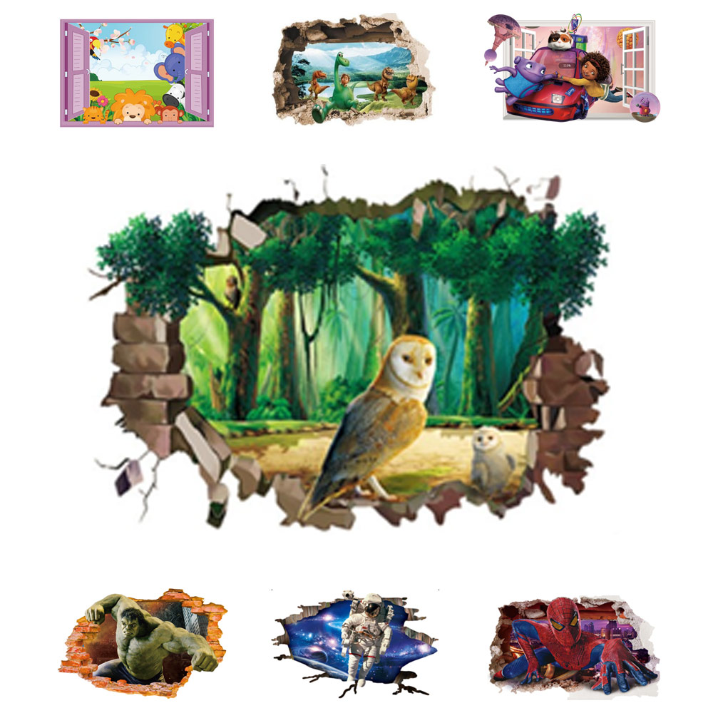 Kids 3d world wall sticker dinosaur scroll mural art wall for Chinese movie mural