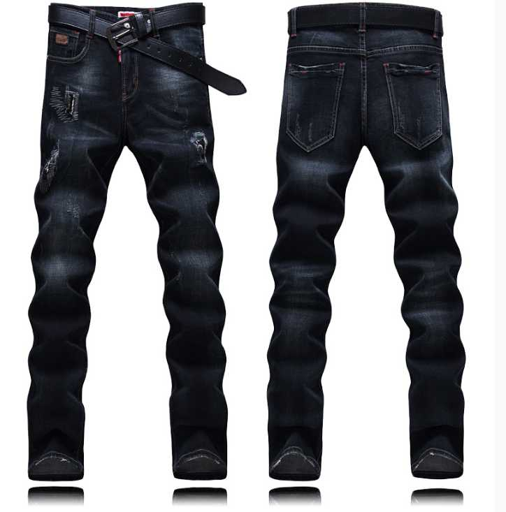 2017 spring and autumn male black hole jeans male slim skinny long trousers